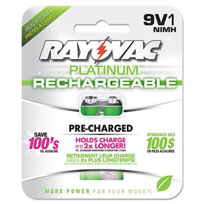 Rayovac Platinum Rechargeable 9V NiMH Battery