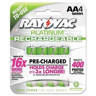 Rayovac Platinum Rechargeable AA NiMH Battery (4 pack)
