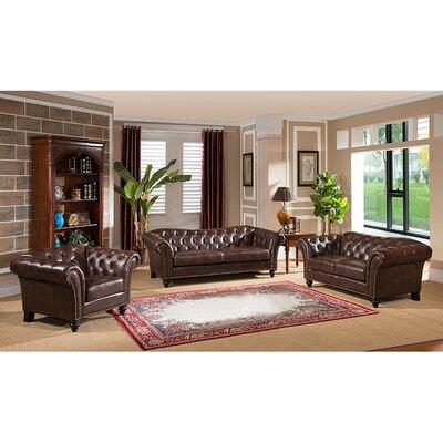 Knightsbridge Top Grain Leather Sofa, Loveseat and Chair Set by Coja