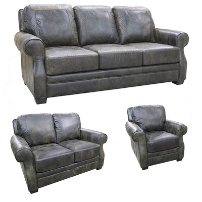 Boise Top Grain Leather Sofa, Loveseat and Chair Set by Coja