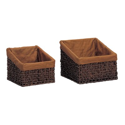 Twist Slant Baskets in Rustic Brown Stain by OIA