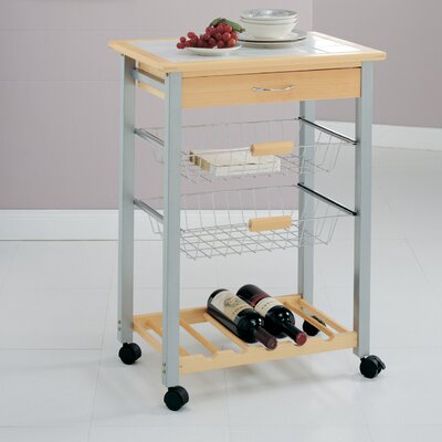 Organize It All Kitchen Cart with Tile Top Product Photo