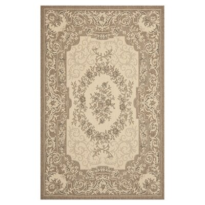 Courtyard Creme/Brown Outdoor Rug by Safavieh