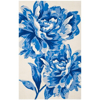 Ivory / Blue Floral Rug by Safavieh