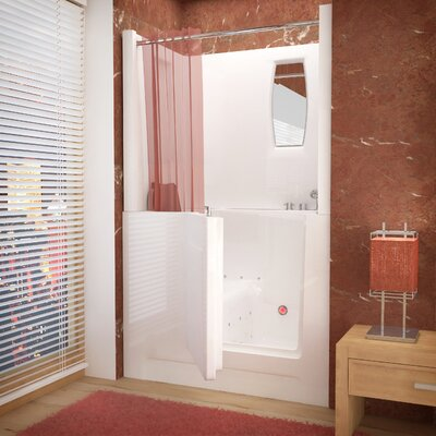 "Telluride 47"" x 27"" Air Jetted Walk-In Bathtub with Shower Top Enclosure Product Photo"