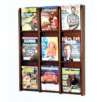 Wooden Mallet 9 Pocket Magazine Wall Display