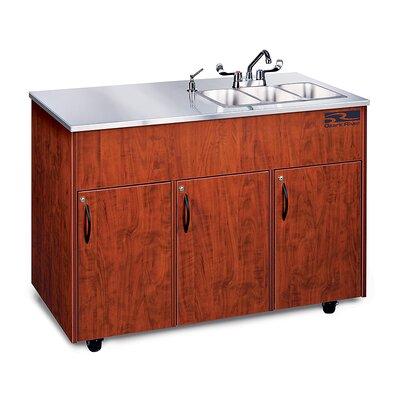 "Ozark River Portable Sinks Silver Advantage 48"" x 24"" Triple Bowl Portable Handwash Station with Storage Cabinet"