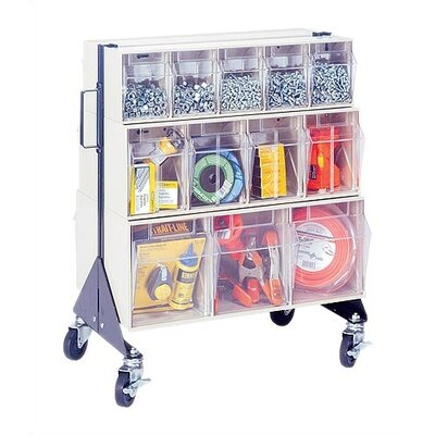 """Quantum Storage 24"""" Mobile Double Sided Floor Stand Storage Unit with Tip Out Bins"""