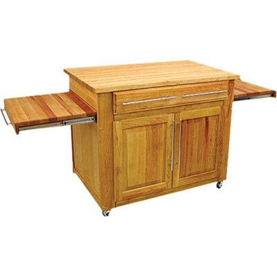 Kitchen Island with Butcher Block Top Product Photo