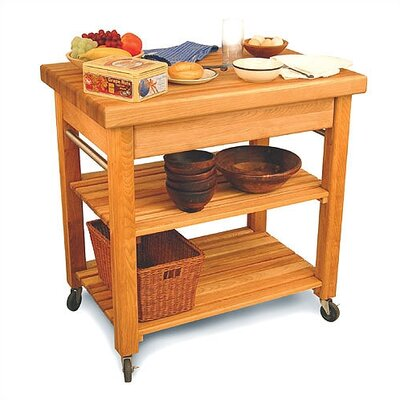 French Country Kitchen Island with Butcher Block Top Product Photo