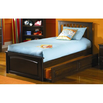 Atlantic Furniture Brooklyn Platform Bed with Trundle in Antique Walnut