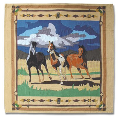 Wild Horses Cotton Shower Curtain by Patch Magic