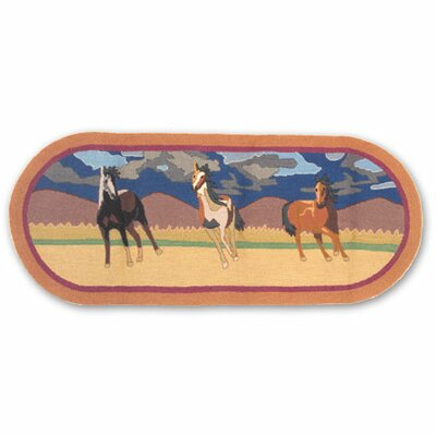 Wild Horses Beige/Brown Three Horses Area Rug by Patch Magic