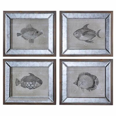 Amazoncom Uttermost 41700 Mirrored Fish Framed Art Set