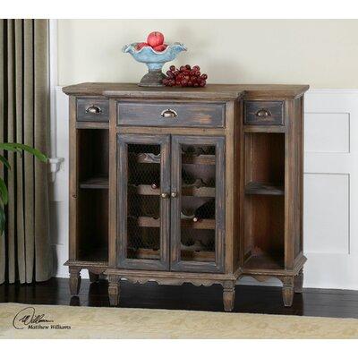 Suzette Wood Bar Cabinet with Wine Storage by Uttermost