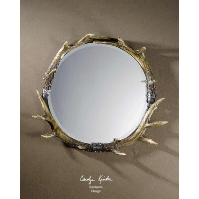 Rustic Fau Stag Horn Wall Mirror by Uttermost