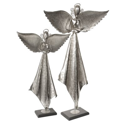 Two Piece Angels Statues in Antique Nickel by Uttermost