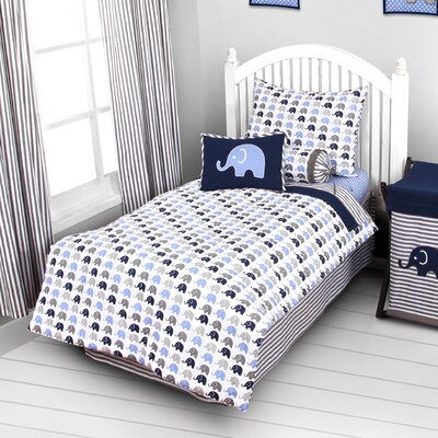 Bacati Elephants 3 Piece Toddler Sheet Set EBGRSS EPGRSS