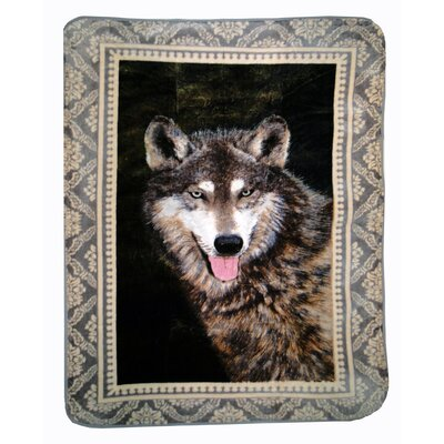 Timber Wolf Throw Blanket with Border by Shavel