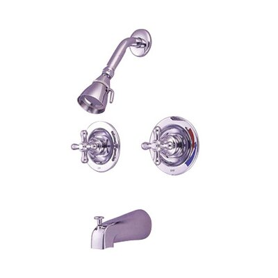 Heritage Pressure Balanced Volume Control Tub and Shower Faucet with Twin Metal Cross Handles Product Photo