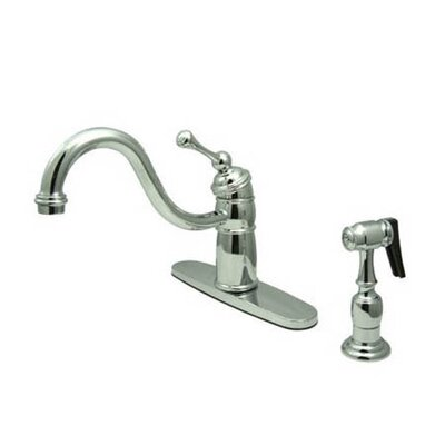 Elements of Design Heritage Singe Handle Centerset Kitchen Faucet with Buckingham Lever Handle and Side Spray
