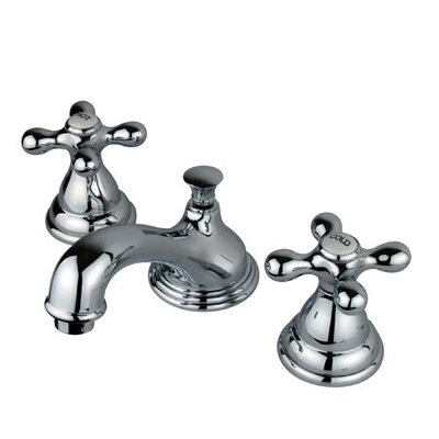 Widespread Bathroom Faucet with Double Metal Cross Handles Product Photo