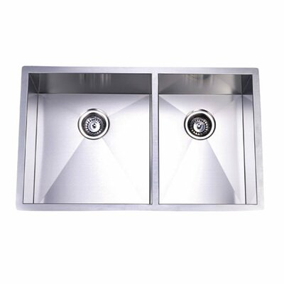 Town Square Undermount Offset Double Bowl Kitchen Sink by Elements of Design