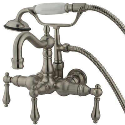 Hot Springs  Three Handle Wall Mount Clawfoot Tub Faucet with Hand Shower Product Photo