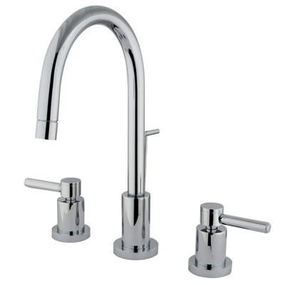 Elements of Design Concord Double Handle Mini Widespread Bathroom Faucet with Brass Pop-Up