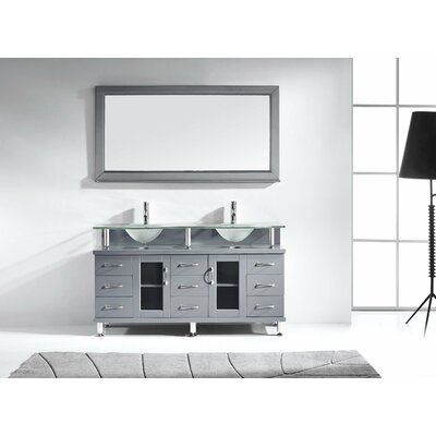 "Rocco 61"" Double Bathroom Vanity Set with Mirror Product Photo"
