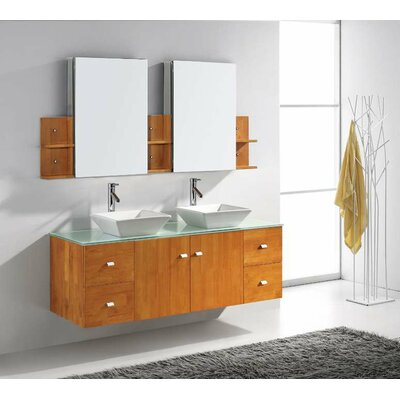 "Virtu Ultra Modern 61"" Double Clarissa Bathroom Vanity Set with Mirror"