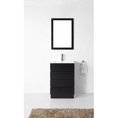 """Virtu Bruno 24"""" Single Contemporary Bathroom Vanity Set with Mirror"""