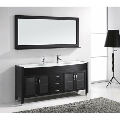 "Ava 71"" Double Bathroom Vanity Set with Mirror Product Photo"