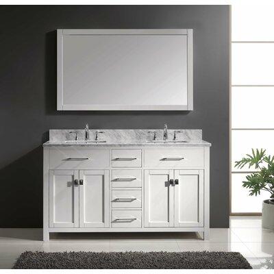 """Caroline 60"""" Double Bathroom Vanity Set with Mirror Product Photo"""