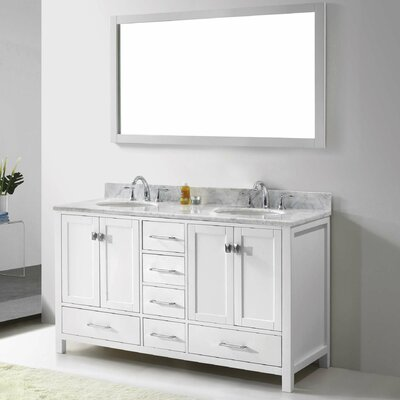 "Caroline Avenue 60"" Double Bathroom Vanity Set with Mirror Product Photo"