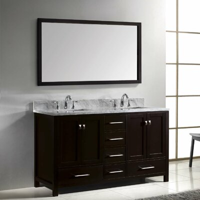 "Caroline Avenue 61"" Double Bathroom Vanity Set with Mirror Product Photo"