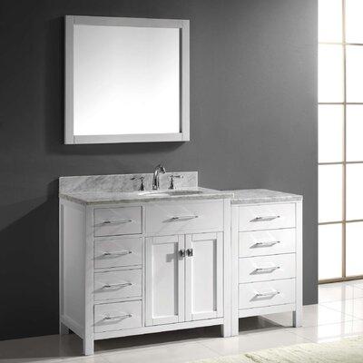 "Virtu Caroline Parkway 57"" Single Bathroom Vanity Set with Mirror"