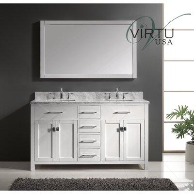 Virtu Caroline 60 Double Bathroom Vanity Set With Mirror