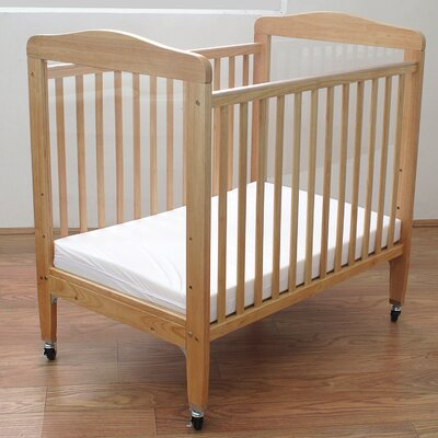 L.A. Baby Compact Wooden Window Convertible Crib with Mattress
