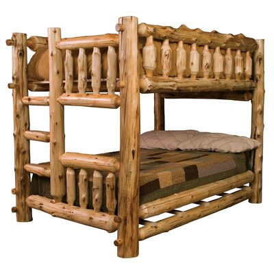 Traditional Cedar Log Bunk Bed with Built-In Ladder by Fireside Lodge