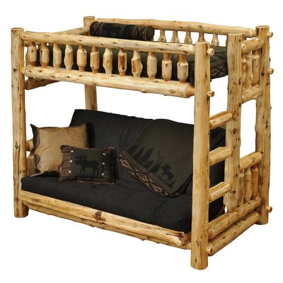 Traditional Cedar Log Twin over Futon Bunk Bed with Built-In Ladder by Fireside Lodge