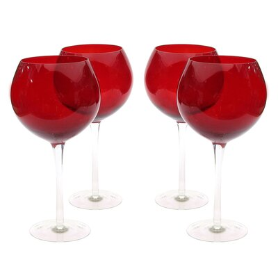Glass Stemware Ruby Red Wine Glasses (Set of 4) by Certified International