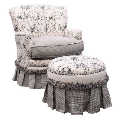 Toile Black Adult Princess Glider Rocker and Ottoman by Angel Song