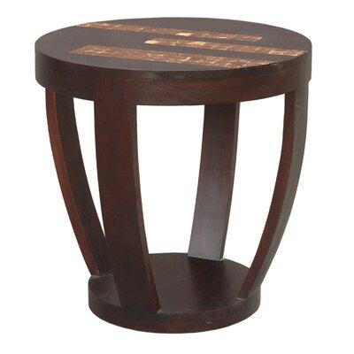 Batavia Coco Motif Side Table in Espresso by Jeffan