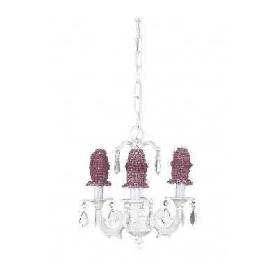 Jubilee Collection Stacked Glass Ball Chandelier with Pink Beaded Bulb Cover in White