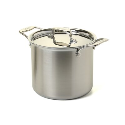 d5 Brushed Stainless Steel 7 Qt. Tall Stock Pot with Lid by All-Clad