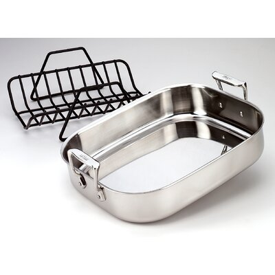 "All-Clad Stainless Steel 14"" Petite Roasting Pan with Rack"