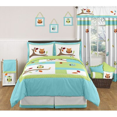 Sweet Jojo Designs Hooty Turquoise and Lime Standard Pillow Sham
