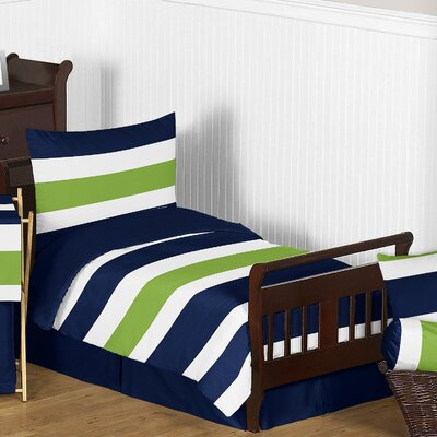 Navy Blue and Lime Green Stripe 5 Piece Toddler Bedding Set by Sweet Jojo Designs ...