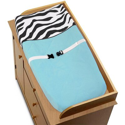 Sweet Jojo Designs Zebra Turquoise Collection Changing Pad Cover
